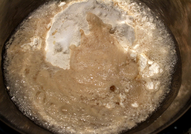 Flour with yeast mixture